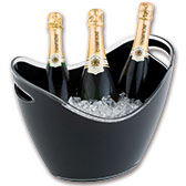 Champagne-emmers en flessenkoellers